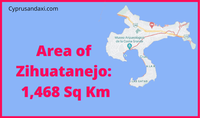 Area of Zihuatanejo compared to Majorca